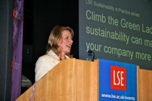 Amy Fetzer at podium LSE Lecture